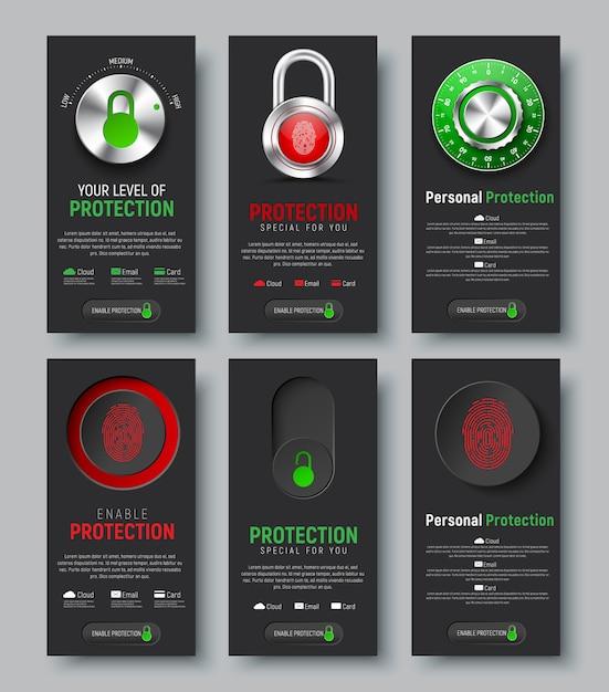 Набор черных вертикальных веб-баннеров для защиты информации. вертикальные шаблоны с замком, кнопкой и переключателем с отпечатком пальца, механическим кодовым замком и контролем уровня облака, Premium векторы