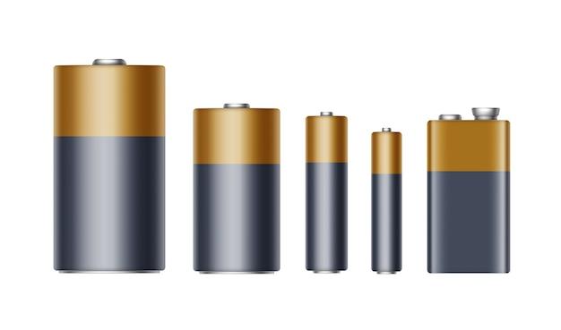異なるサイズのaaa、aa、c、d、pp3、およびブランド化用の9ボルトバッテリーの黒黄色ゴールデン光沢のあるアルカリ電池のセット Premiumベクター