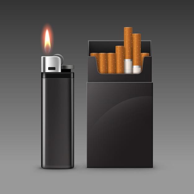 暗い背景に分離されたタバコのパックと炎と空白の黒いプラスチック金属ライターのセットをクローズアップ Premiumベクター