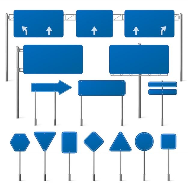 Набор пустых синих дорожных знаков Бесплатные векторы