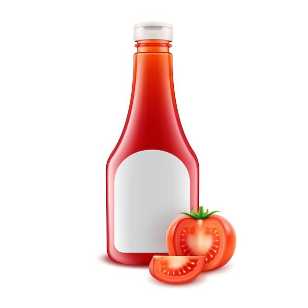 ホワイトラベルとブランディングのための空白のガラスプラスチック赤いトマトケチャップボトルとフレッシュカットトマトが白い背景で隔離のセット Premiumベクター