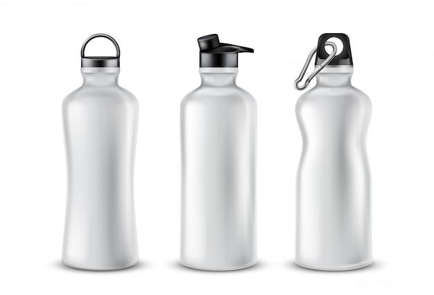 음료, 배경에 고립에 대 한 뚜껑을 가진 빈 플라스틱 병의 집합입니다. 무료 벡터