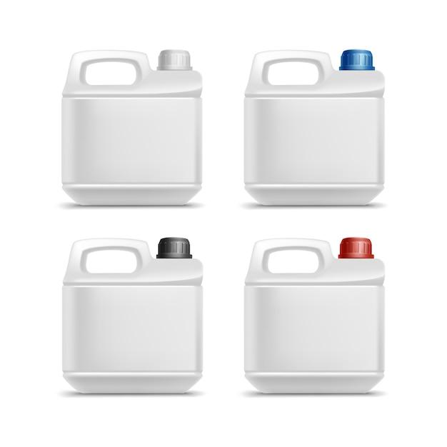 分離された空白のプラスチックジェリカンキャニスターガロンオイルクレンザー洗剤洗剤のセット Premiumベクター