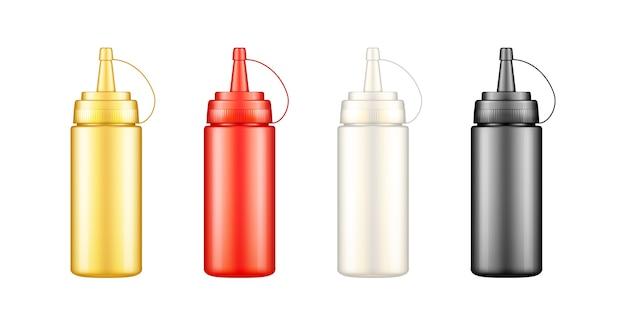 白で隔離される空白のプラスチックケチャップのセット Premiumベクター