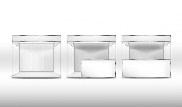 白い背景の上の空白のプロモーション展示スタンドのセット。コーポレート・アイデンティティ Premiumベクター
