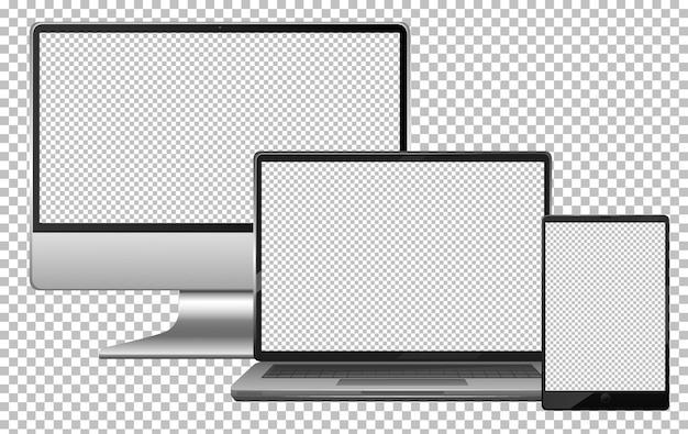 빈 화면 전자 가제트 컴퓨터 노트북 및 태블릿 절연 세트 무료 벡터