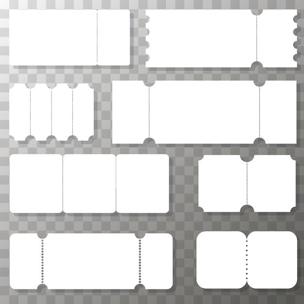 Набор пустых шаблонов билетов. реалистичный белый билет. реальный билет Premium векторы