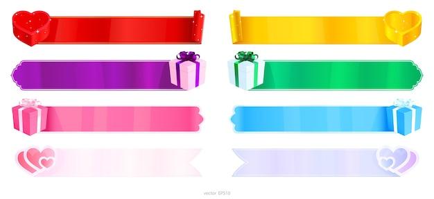 Набор пустых веб-баннеров, украшенных подарочными коробками и сердечками. Premium векторы
