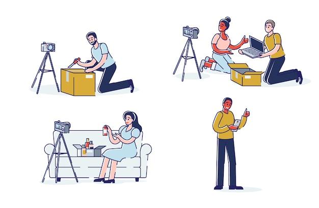 Множество блогеров, создающих распаковывающие видео, лайфстайл-контент и бьюти-влоги. купить концепцию распаковки видеоблогов Premium векторы