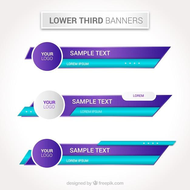 Набор синих и фиолетовых нижних третей Premium векторы