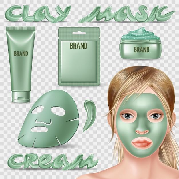 青いホイルマスクと顔のスクラブのセット。 Premiumベクター