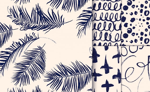 Set of blue patterns drawn with dry brush.  Free Vector