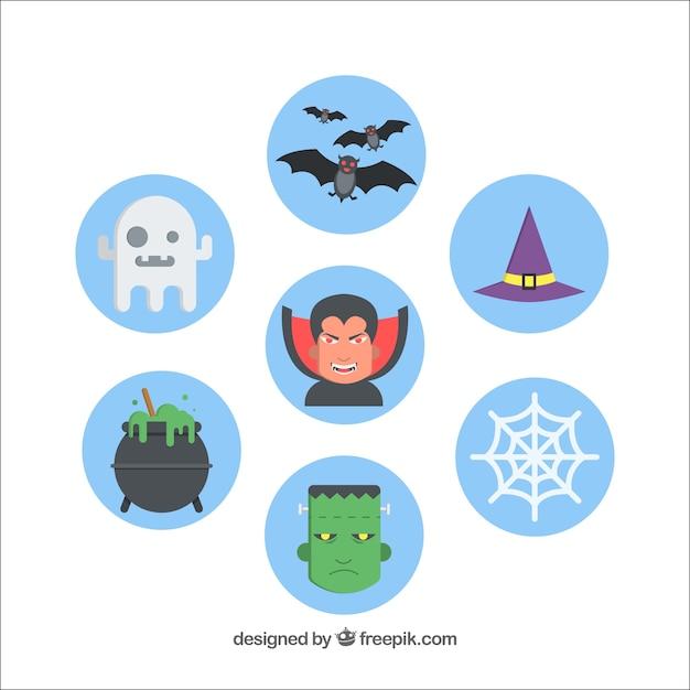 Set of blue round halloween stickers
