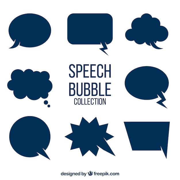Set of blue speech bubbles