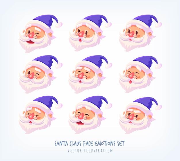 青いスーツのセットサンタクロースの顔の感情アイコンかわいい漫画の顔コレクションメリークリスマスイラスト Premiumベクター