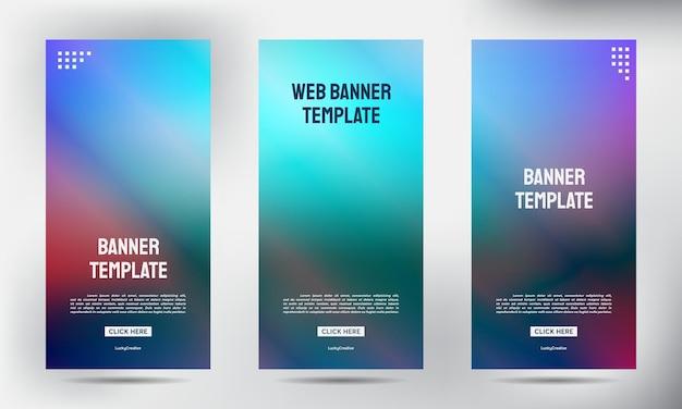 Набор размытых свернуть бизнес брошюра флаер баннер дизайн вертикальный вектор шаблона, обложка презентации фон, современная публикация x-баннер и флаг-баннер, свернуть дизайн шаблона баннер стенд Premium векторы