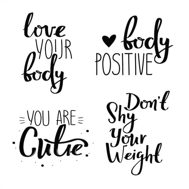 신체 긍정적 인 필기 포스터의 집합입니다. 프리미엄 벡터