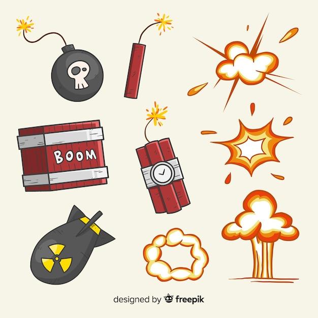 爆弾爆発効果のセット Premiumベクター