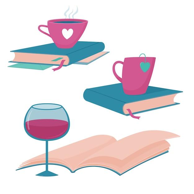 本のブログのセット、本、ワインのグラス、熱いお茶やコーヒーのカップでクラブのロゴのテンプレートを読む Premiumベクター