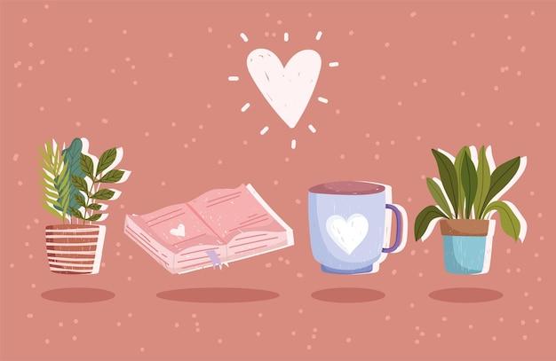本、コーヒーカップ、ハートのイラストと植物のセットです。 Premiumベクター