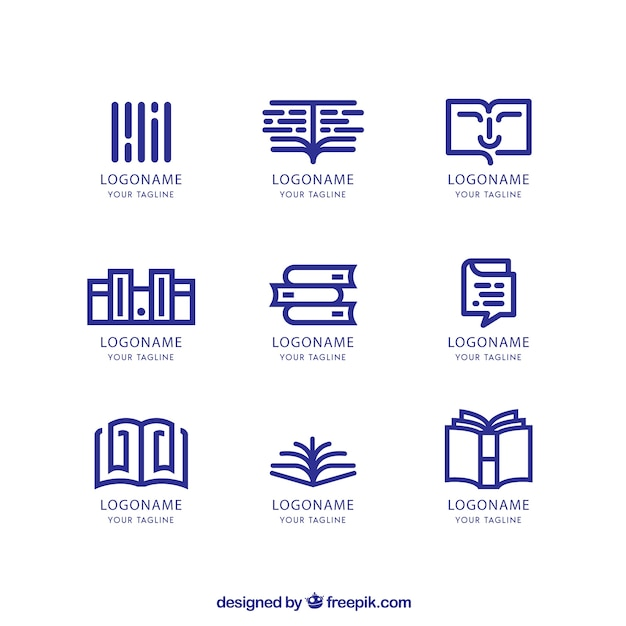 Set of bookstore logos in linear style Free Vector