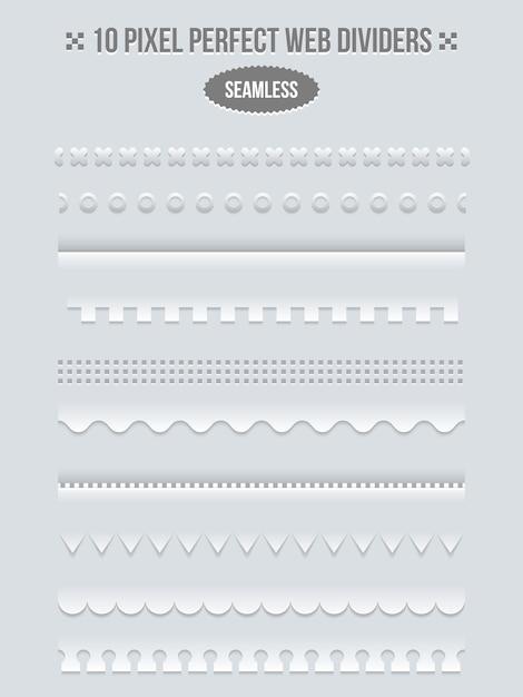 ウェブ用の境界線と仕切りのセット。ラインページ、bookbinderデザイン、ベクトル図 無料ベクター
