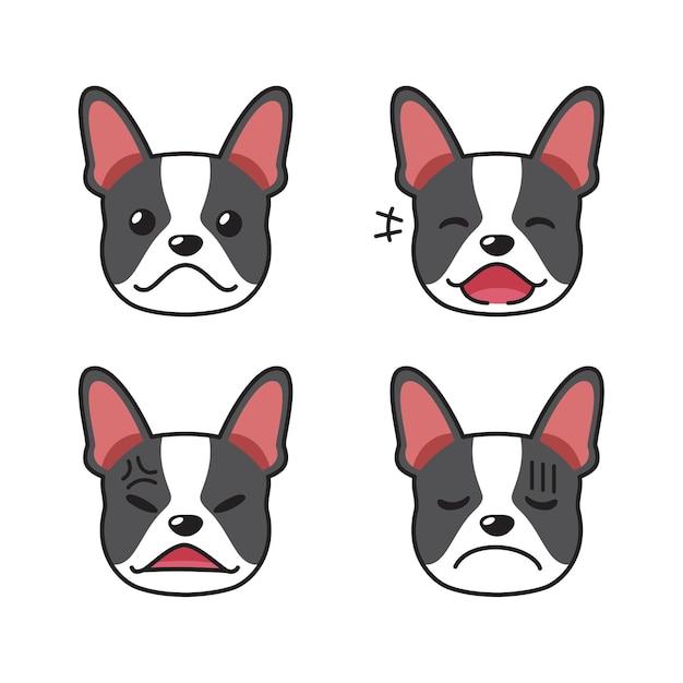 Набор морды собаки бостон-терьер, показывающий разные эмоции Premium векторы
