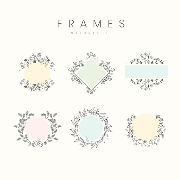Set of botanical frame design elements vector Free Vector