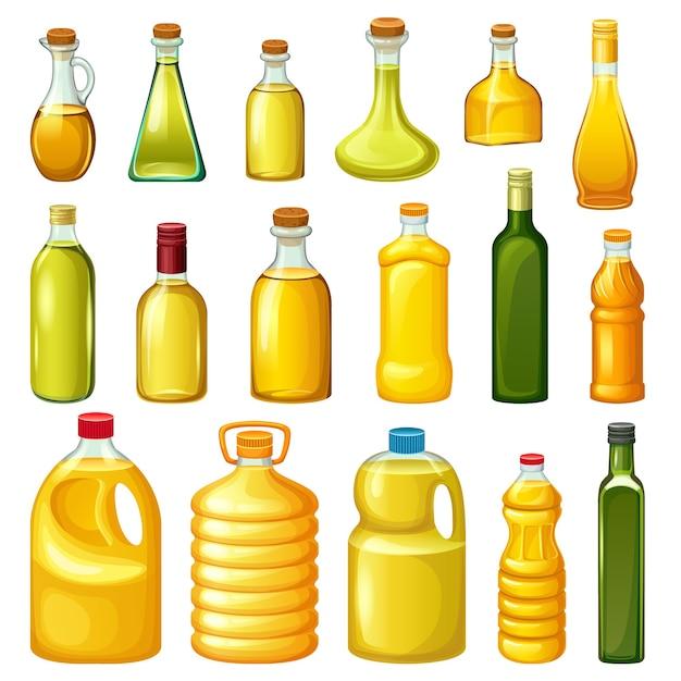 Набор бутылок с растительными маслами. Бесплатные векторы