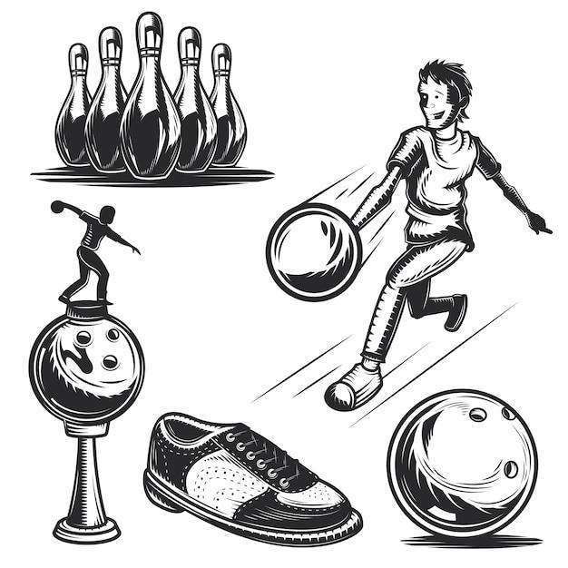 独自のバッジ、ロゴ、ラベル、ポスターなどを作成するためのボウリング要素のセット。 無料ベクター