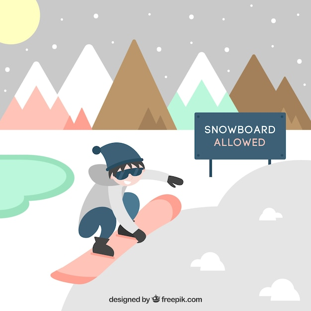Set of boy practicing snowboard