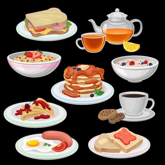 朝食のアイコンのセットです。サンドイッチ、紅茶、クッキー付きコーヒー、チョコレート付きパンケーキ、トースト、ソーセージ付き目玉焼き、オートミールのお粥のボウル、コーンフレークリング。フラットなデザイン Premiumベクター