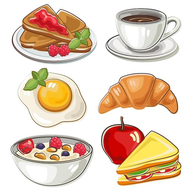 おしゃれなスタイルの朝食セット Premiumベクター