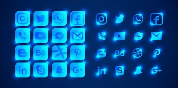밝은 파란색 소셜 미디어 로고의 집합입니다. 프리미엄 벡터