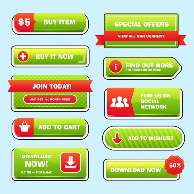 Набор ярких кнопок для игры или сети. Premium векторы