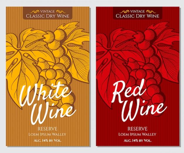 Набор ярких этикеток для белого и красного вина Premium векторы