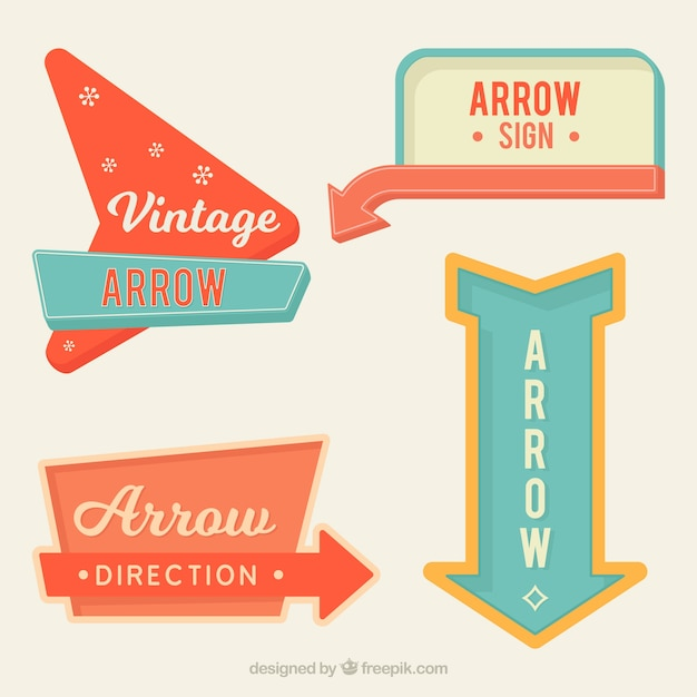 Set Of Bright Vintage Arrow Signs Free Vector