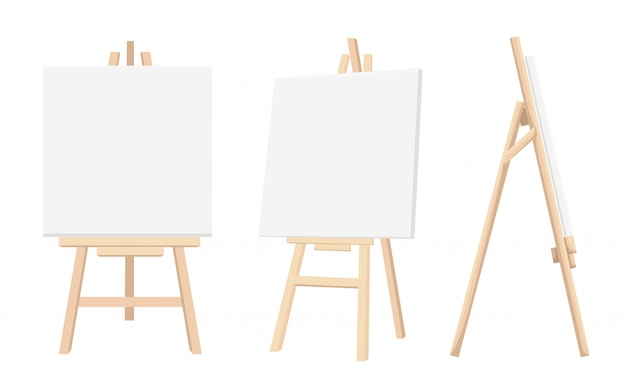 Набор коричневых сиенских деревянных мольбертов с макетом пустых пустых холстов на столе краски фона и белой бумаге на фоне. векторная иллюстрация страница веб-сайта и мобильное приложение. Premium векторы
