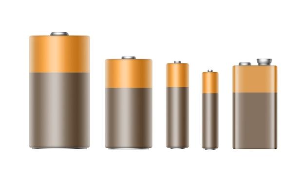 ブラウンイエローゴールデン光沢のあるアルカリ電池の異なるサイズのaaa、aa、c、d、pp3、およびブランド化用の9ボルトバッテリーのセット Premiumベクター