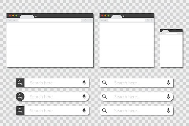 Набор окон браузера в разных размерах и панель поиска коллекции в плоский дизайн с тенью. макет окна браузера Premium векторы