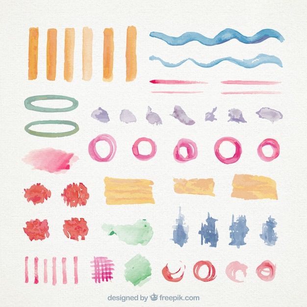 Set of brush strokes and watercolor stains Free Vector