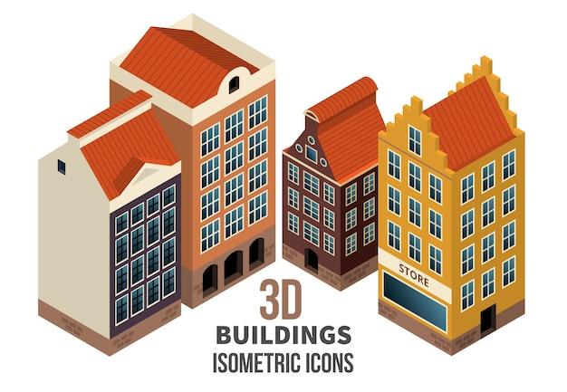 건물 아이콘 3d의 집합입니다. 1 층에 소매점이있는 주거용 건물. 벡터 일러스트 레이 션 프리미엄 벡터