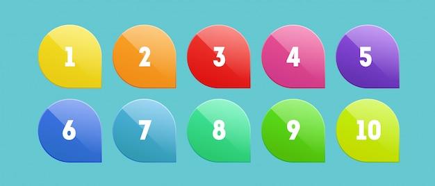 Набор маркера с цифрами Premium векторы