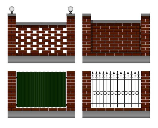 バーガンディのレンガの壁のセット。鍛造金属フェンス、鉄板グリーン色、街路灯付き。庭やコテージの民家用。 Premiumベクター