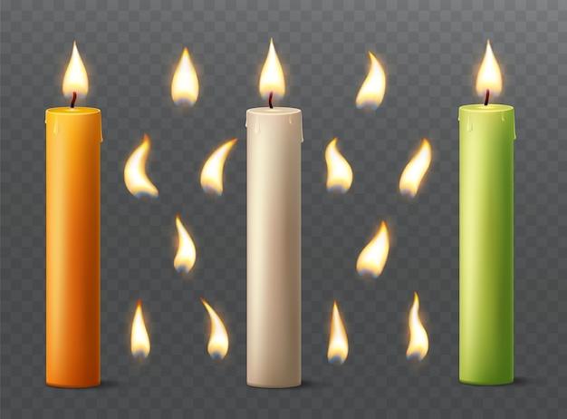 Набор горящих свечей с разным пламенем. ваниль, оранжевый и зеленый парафин или воск на прозрачном фоне. Premium векторы