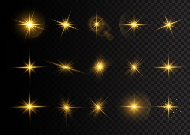 광채와 함께 버스트 스타의 집합입니다. 노란색 빛나는 조명 별. 광선 및 스포트 라이트와 함께 태양의 섬광. 투명 배경에 고립 된 특수 효과입니다. 프리미엄 벡터