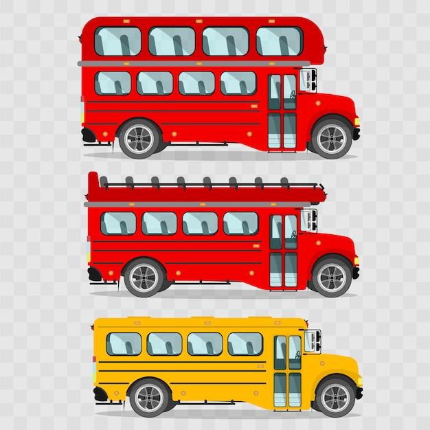 버스 세트. 빨간 이층 버스, 지붕이없는 빨간 이층 버스, 노란색 스쿨 버스, 런던 버스. 프리미엄 벡터