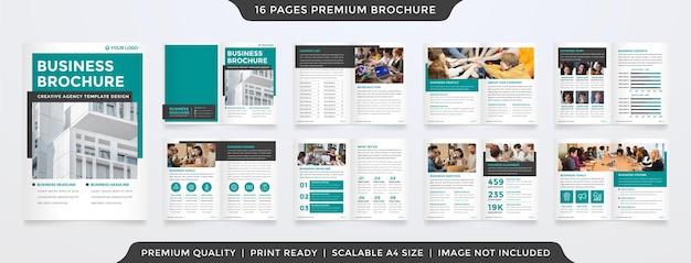 ミニマリストスタイルのビジネスパンフレットテンプレートのセット Premiumベクター
