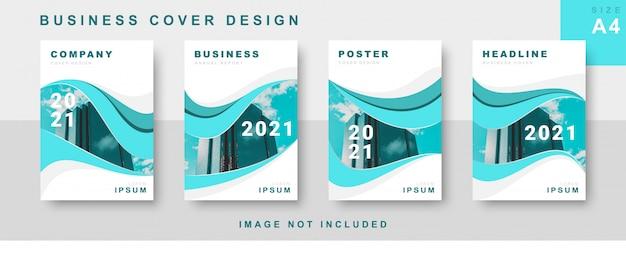 Набор бизнес дизайн обложки с абстрактным потоком Premium векторы