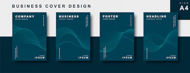 Набор бизнес дизайн обложки с волнистыми линиями Premium векторы